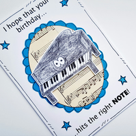 Piano Birthday Card - Music Lover - Pianist - Grand Piano - Note - Piano Player