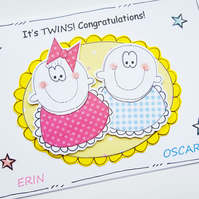 Twin Babies Congratulations Card - Personalised - Handmade - New Baby Twins
