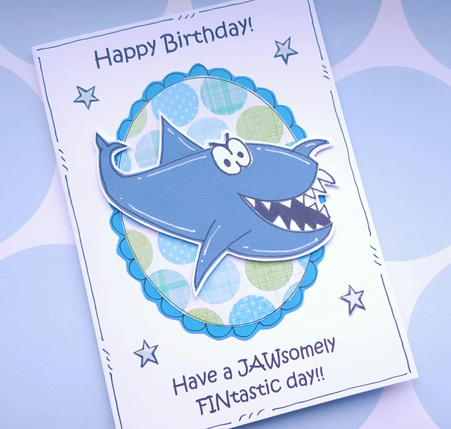 Shark Birthday Card - Handcrafted - Sealife Fish Pun Card - Ocean - Cartoon
