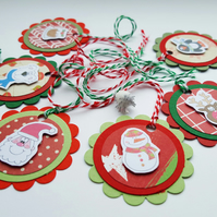 Christmas Gift Tags - Cute Characters - Handcrafted Round Labels - Gift Decor
