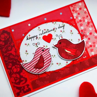 Valentines Day Card - Lovebirds - Handcrafted Luxury Card - Romantic Traditional