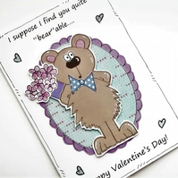 Bear Valentine's Day Card - Bear Bouquet - Jokey Fun Sarcastic Cartoon Card
