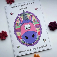 Motivational Card - Unicorn - Encouragement Card - Friend - Believe in Yourself