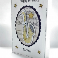 Birthday Card - Saxophone - Personalised - Handcrafted - Music Jazz Orchestra