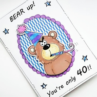 Bear Birthday Card, Grumpy, Pun, Cartoon, 30 40 50, Age Card, Personalised