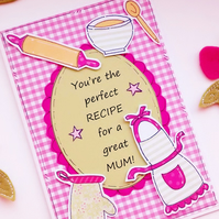 Mother's Day Card - Baking - Great Mum Recipe - Handcrafted Card - Cooking Pun