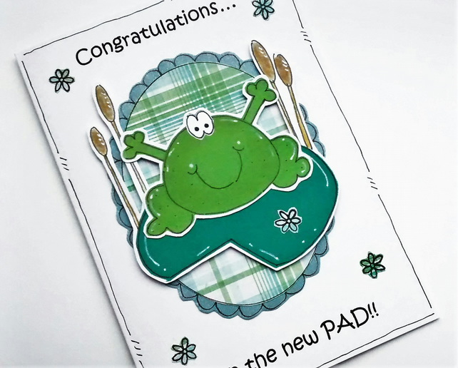 New Home Card - Frog Card - Personalised - Congratulations - New Pad - Handmade