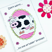 Cow Birthday Card - Funny Birthday Card - Udder Pun - Handmade - Jokey