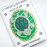 Turtle Birthday Card -Turtle Pun - Joke Card - Handcrafted - Insulting - Friend