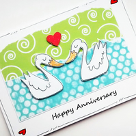 Anniversary Card - Pair of Swans - Handcrafted Card - Lovebirds