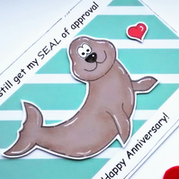 Anniversary Card - Seal of Approval - Handcrafted -  Happy Wedding Anniversary