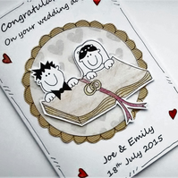 Wedding Card - Personalised - Congratulations - Rings on Bible - Handcrafted