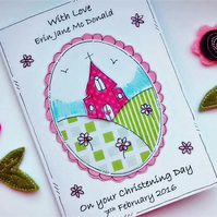 Christening Day Card for Girl - Personalised - Church on Hill - Baptism Day Card