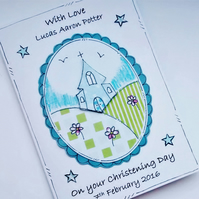 Christening Day Card for Boy- Personalised - Church on Hill - Baptism Day Card