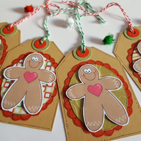 Christmas Gift Tags - Gingerbread Men - Handcrafted Xmas Tags - Traditional