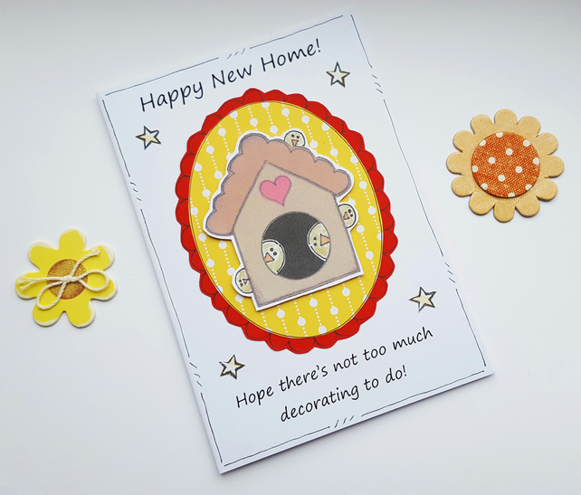 New Home Card - Birdhouse- Handcrafted - Moving House Card - Cheeky