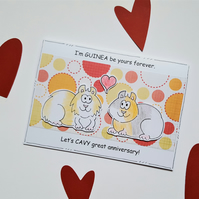 Anniversary Card - Guinea Pigs - Handcrafted - Pun - Cartoon - Cute Fun Card