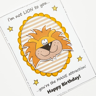 Lion Birthday Card, Joke Pun Card, Cartoon Animal, Happy Birthday, Friend, Funny