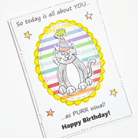 Cat Birthday Card, Cheeky, Sarcastic Pun Card, Friend, Funny Birthday, Cat Lover