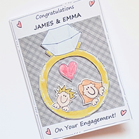 Engagement Card, Personalised, Diamond Ring Couple, Handcrafted, Congratulations