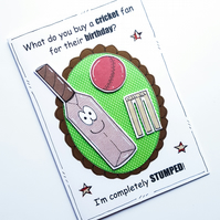 Birthday Card - Cricket Bat - Cricket Pun - Cartoon Cricket Bat - Male Birthday