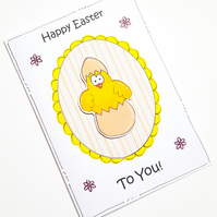 Easter Card, Chick Egg, Hatching, Personalised, Handmade, Cartoon, Spring Fun