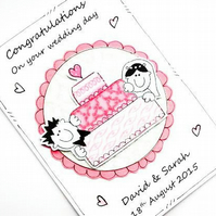 Wedding Card - Personalised - Congratulations - Wedding Cake - Handcrafted