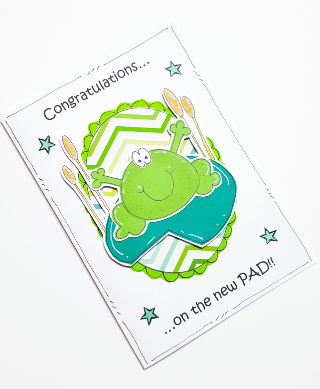 New Home Card, Congratulations, Frog New Pad, Pun, House Move, Handmade