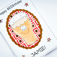 Male Birthday Card - Beer Glass - Personalised - Men Dad Brother -Handcrafted
