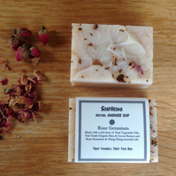 Rose Geranium Natural Handmade Soap 110g - Vegan Friendly