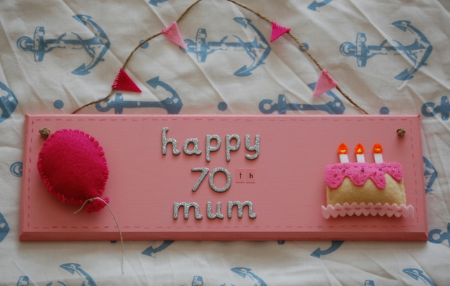 Handmade Personalised Birthday Sign with Felt Cake and Balloon