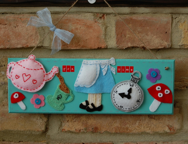 Alice in wonderland inspired handmade felt sign 'Tea Time' plaque, teapot, cute