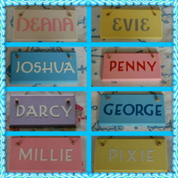 Handmade Pet Name Plaque sign. Any name (Max 6 letters), Any colour . Dogs, Cats