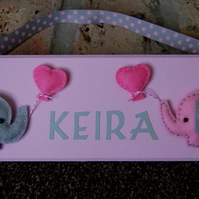 Personalised felt design Name Plaque. Any design, colours, name. Nursery, Baby