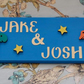 Shared Room Door plaque, sign, plate. Any colours, Any two Names. Dinosaurs.
