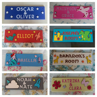 Personalised Children's Bedroom Door Name Plaques. Girls Boys Unicorn Dinosaur