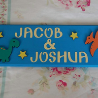 Dinosaur boys Shared Room Door Name Sign plaque. Any colours, Any Name Names.