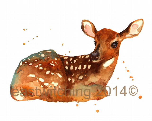 Watercolour Fawn Print Deer Painting Woodland Folksy