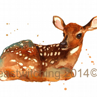 Watercolour Fawn print, deer painting, woodland nursery art, 8x10 print
