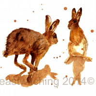 Watercolour Hares Art Print