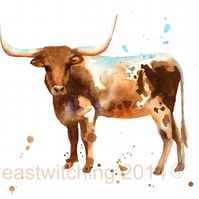 Watercolour Longhorn Steer