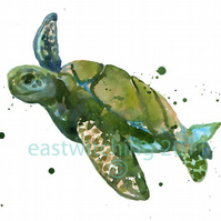 Watercolour Sea Turtle Print - nautical nursery art