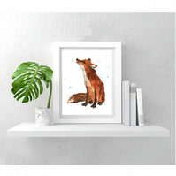 Tender Watercolour Fox Print