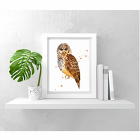 Whimsical OWL Watercolour Print