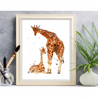 Mother and Baby Watercolour Giraffe Print - adorable frame ready print 8x10 inch