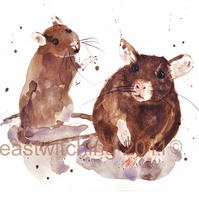 "Watercolour Rat Print - ""Roustabout Rats"" slips into any standard 8x10 frame"