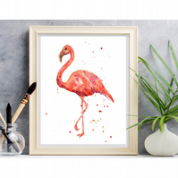 Watercolour FLAMINGO Print - frame ready