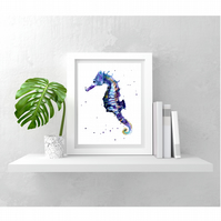 Seahorse Watercolour Print - slips into any frame