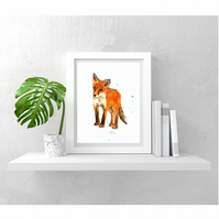 Baby FOX WATERCOLOUR ART print - ready to frame