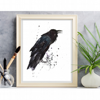 Wicked RAVEN Watercolour print